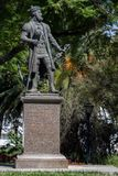 瓦斯科・达伽马雕象在埃武拉 免版税库存照片