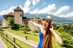 瓦杜兹城堡在列支敦士登 库存照片