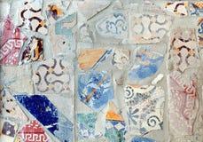 瓦片与各种各样的混杂的装饰的纹理背景 库存照片