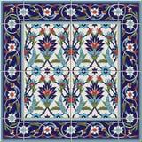从瓦片和边界的华美的无缝的样式 摩洛哥,葡萄牙语,土耳其语, Azulejo装饰品 库存图片