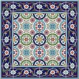 从瓦片和边界的华美的无缝的样式 摩洛哥,葡萄牙语,土耳其语, Azulejo装饰品 免版税库存照片