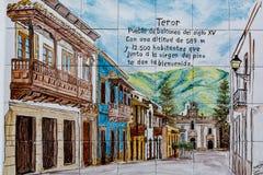 瓦片有Teror,大加那利岛,西班牙一个美丽的老镇的看法  库存照片