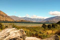 瓦纳卡湖山 库存图片