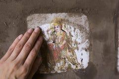 瓦腊纳西,印度, 2015年1月:印地安印度女神杜尔加 库存照片