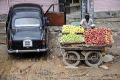 瓦腊纳西,印度, 2010年9月19日:卖菜的年轻人 库存图片
