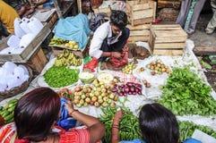 瓦腊纳西,印度, 2010年9月19日:卖菜的年轻人 免版税图库摄影
