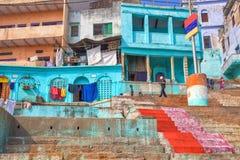 瓦腊纳西ghats圣城,印度 库存照片