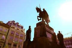 瓦茨拉夫在欧洲市布拉格摆正公开中心 库存图片