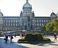 瓦茨拉夫monumet和捷克国家博物馆,布拉格 免版税库存照片