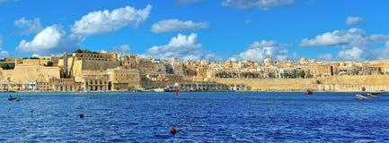 瓦莱塔美好的江边地平线,马耳他地标,旅行欧洲 库存图片