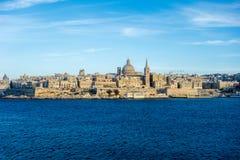 瓦莱塔,马耳他的首都地平线  免版税库存照片