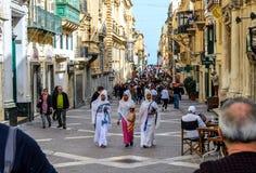 瓦莱塔,马耳他- 2018年6月:在欧洲c的文化多元化 库存照片