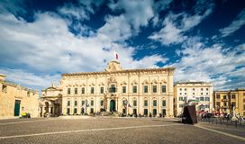 瓦莱塔,马耳他- 2018年11月:Auberge在Castille地方的de Castille 免版税库存照片