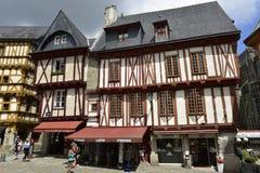 瓦讷,布里坦尼,法国的历史中心 免版税库存图片