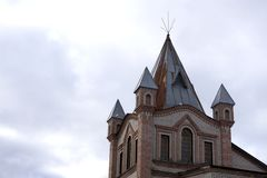 瓦讷,美丽的老半木料半灰泥的房子,壮观的镇在布里坦尼 免版税库存照片