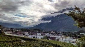瓦雷兹的山在瑞士 库存照片