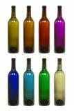 瓶上色多种酒 图库摄影
