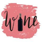 瓶与手拉的字法的红葡萄酒 免版税库存照片
