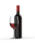 瓶与玻璃的红葡萄酒 向量例证