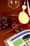 瓶与空白标签的玫瑰酒红色 免版税库存图片