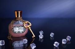 瓶与钥匙、链子和水晶的媚药 免版税库存照片