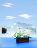 瓶于船 免版税库存图片