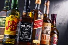 瓶几个全球性威士忌酒品牌 免版税库存图片