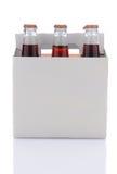 瓶可乐装箱六碳酸钠 免版税库存图片