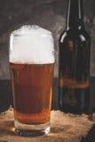 瓶和一杯啤酒 免版税图库摄影