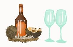 瓶和两个酒杯 皇族释放例证