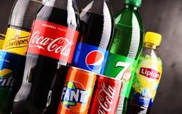 瓶和罐头被分类的全球性软饮料 库存图片