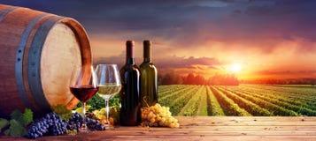 瓶和葡萄酒杯用葡萄和桶 库存照片