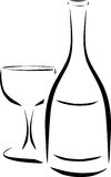 瓶和葡萄酒杯 向量例证
