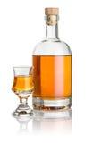瓶和任何烈酒玻璃用琥珀色的液体填装了 免版税图库摄影