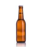 瓶啤酒 beeing的概念连接集中查出的射击工作室包围的技术白色 库存图片