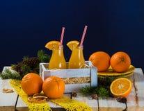 瓶图象查出的汁液桔子 库存照片