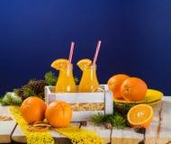 瓶图象查出的汁液桔子 免版税库存照片