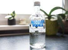 瓶在厨台的Absolut伏特加酒 库存照片