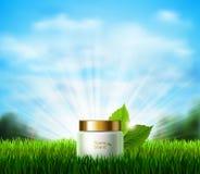 瓶在新鲜的绿色沼地的奶油有草的 在背景的Eco产品与蓝天、阳光和白色 图库摄影