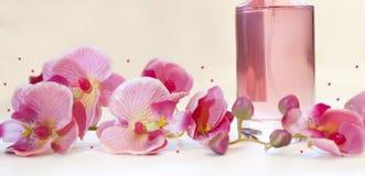 瓶妇女在桃红色背景的` s香水 图库摄影