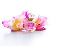瓶妇女` s香水和一朵精美花 库存图片