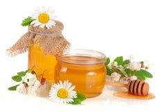 瓶子与在白色背景和春黄菊隔绝的花的蜂蜜金合欢 免版税图库摄影