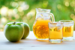 瓶子和两块玻璃有很多与冰的苹果汁 绿色苹果 免版税库存图片
