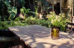 瓶子在木桌上的雏菊 免版税库存图片