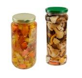 瓶子开胃小菜和蘑菇 免版税库存图片