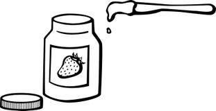 瓶子果冻刀子橘子果酱草莓向量 免版税库存图片