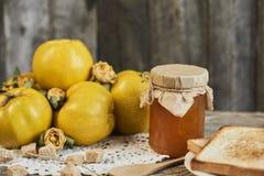 瓶子果酱用三明治和柑橘与叶子在木rusti 库存图片