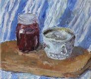 瓶子果酱,杯子,静物画,油画 免版税库存图片