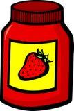 瓶子橘子果酱草莓 免版税库存图片