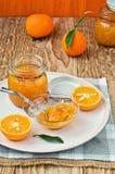 瓶子橙皮马末兰果酱 自创 免版税库存照片